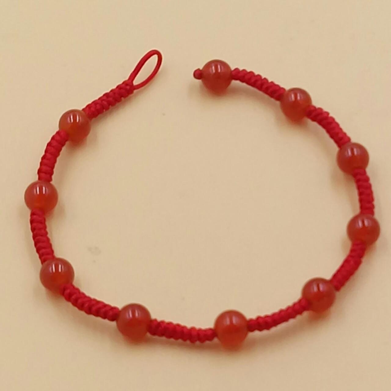 魅琳水晶 天然红玛瑙编织台湾玉线本命年红绳手链纯手工编织