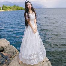 2019春新品白色長裙短袖重工刺繡花朵仙女修身飄逸大擺蕾絲連衣裙