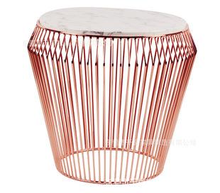 东莞千福家具厂家生产金属铁线边桌 电镀玫瑰金茶几 大理石咖啡桌