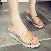 2017夏季新款韩版时尚露趾厚底坡跟凉拖鞋女高跟亮片鱼嘴鞋女鞋子