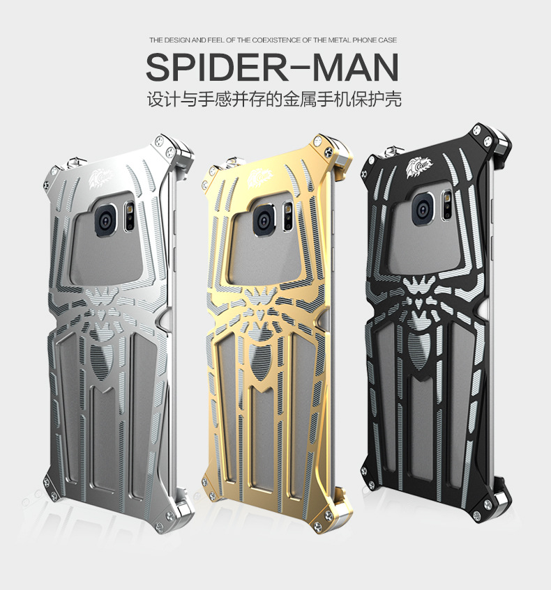 CECIL Spider-Man Aerospace Aluminum Shockproof Metal Shell Case Cover for Samsung Galaxy S7 Edge G9350