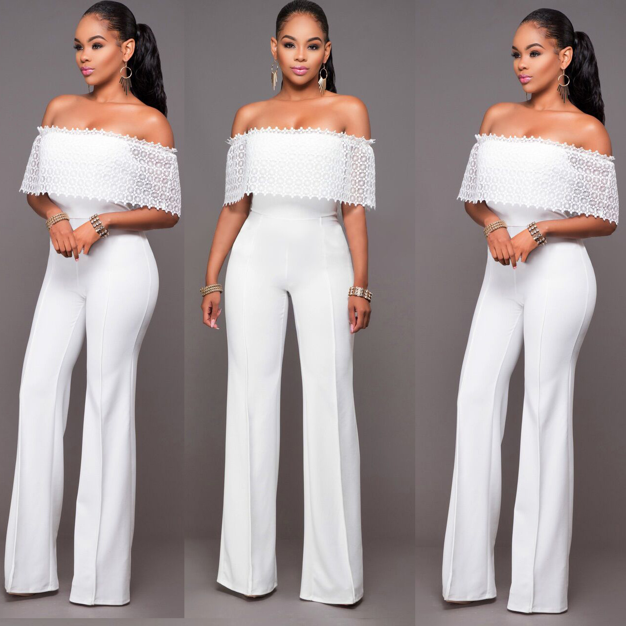2019 Womens Sexy Jumpsuit 2017 Spring Style Women Off Shoulder Party
