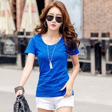 20夏季衣服精品女装上衣韩版修身显瘦棉质短袖T恤女士一件代发