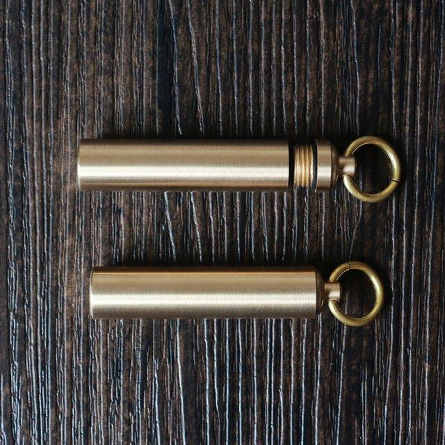 户外迷你金属药品防水仓防水盒 黄铜密封盒防水罐 钥匙圈EDC装备