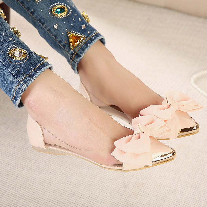 Bow flat metal tip shallow mouth hollow shoes SO190424119052
