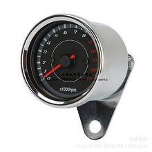 摩托车改装电感转速表指针式仪表复古转速表LED双色背光12V
