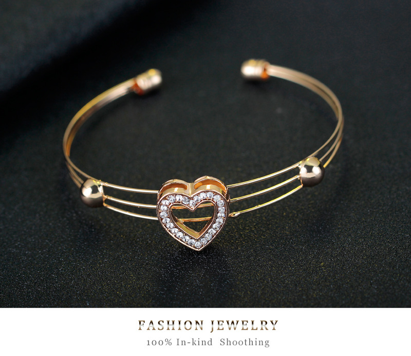 Fine jewelry four-piece heart-shaped necklace earring ring bracelet set wholesale NHDR225289