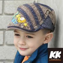 新款儿童贝雷帽韩版潮中童牛仔鸭舌帽男童百搭帅气英伦潮宝宝帽子