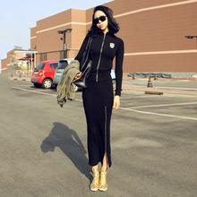 韩国东大门代购修身显瘦运动休闲套装女春秋开衫长裙两件套棉潮