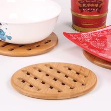 隔热垫 竹制餐垫 圆形网格防烫碗垫杯垫 厨房餐桌垫批发 定制LOGO