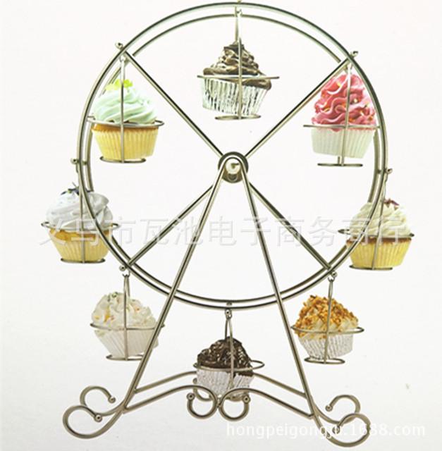 烘培工具/8杯转动蛋糕架 摩天轮旋转蛋糕架 生日婚庆纸杯展示架
