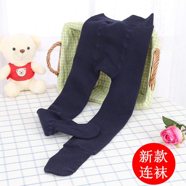 女童冬季加绒加厚七彩棉裤打底裤子儿童裤袜黑色保暖裤子连脚