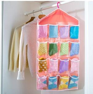 可水洗布艺16格衣柜挂橱收纳挂袋 内裤袜子分类PE收纳袋四色首饰