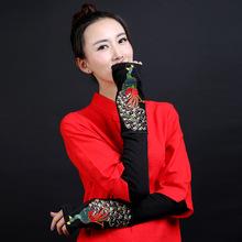 厂家直销 民族风 原创设计女款个性女士手套绣花长款孔雀半指手套