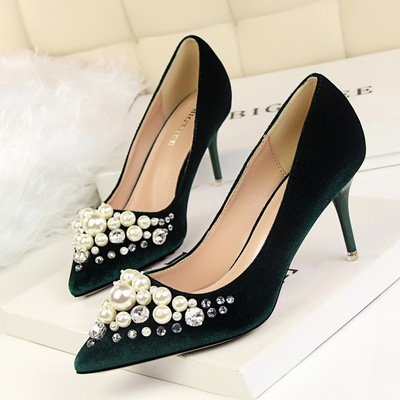 1025-1 han edition elegant party shoes high-heeled shoes high heel with shallow mouth suede pointed pearl diamond footwe