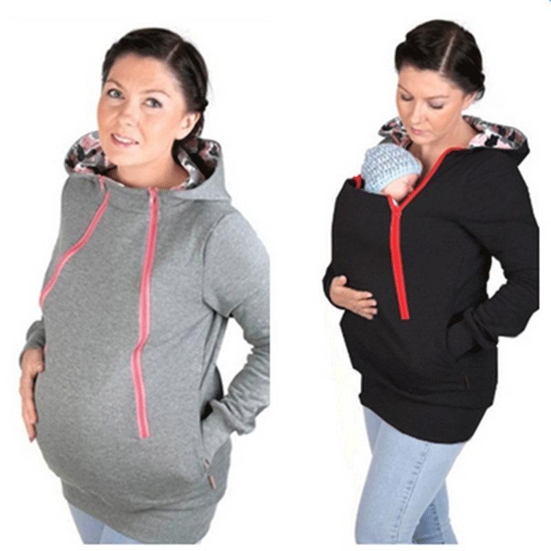 亚马逊Wish速卖通爆款孕妇装2020二合一袋鼠拉链连帽休闲卫衣外套