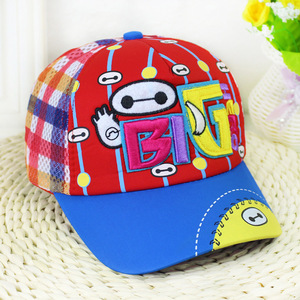 Cartoon large white embroidered children's baseball cap summer kindergarten outdoor sun cap