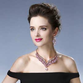 欧美时尚夸张批发粉色短款锁骨链大牌耳环水钻项链套装速卖通热卖