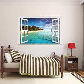厂家直销墙贴3D立体仿真假窗环保贴画pvc可移除装饰卧室客厅0998
