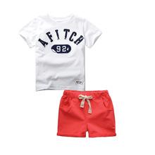 T0303外贸童套装 2016夏季新品纯棉短袖儿童T恤套装男童套装批发