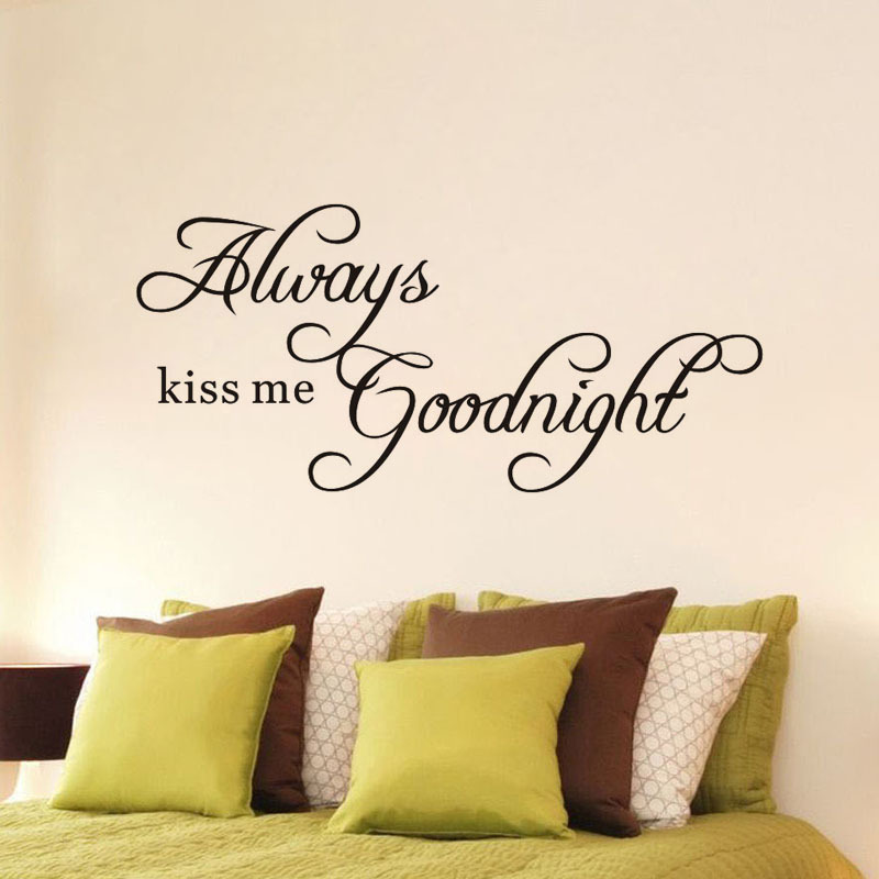 Always kiss goodnight me Europe English motto wall sticker Tanabata English Love 8197