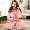 Spring and autumn women's kimono V collar sexy three sets of pajamas knitted cotton elegant lady long sleeved home servi
