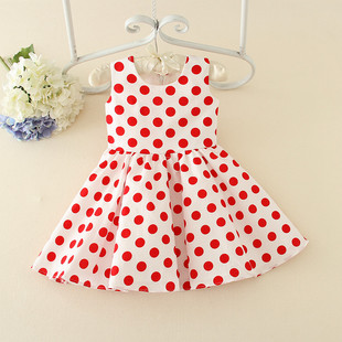 Princess Blossom New Polka Dot Comfortable Fabric Vest Dress, Performance Dress Factory Direct Sales