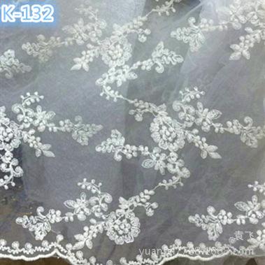 K-132全纯棉线花朵蕾丝刺绣透明网花边面料绣花布DIY辅料匹装满幅