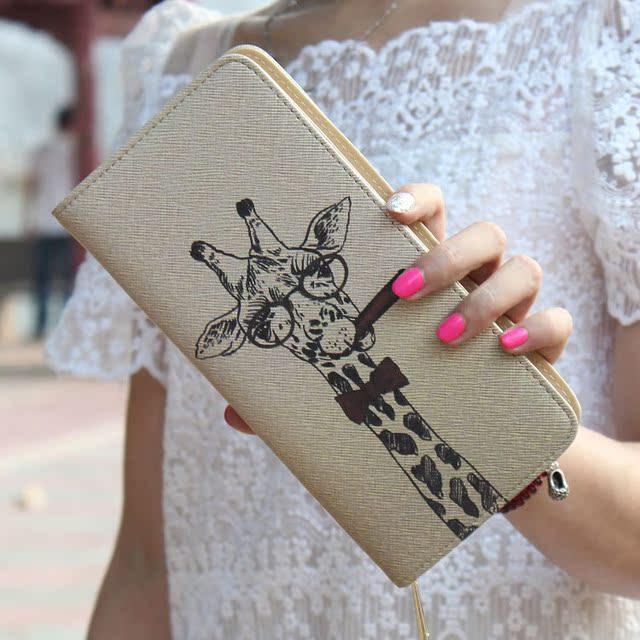 长颈鹿动漫钱包速卖通卡通可爱印花涂鸦手拿女士钱包长款拉链卡包