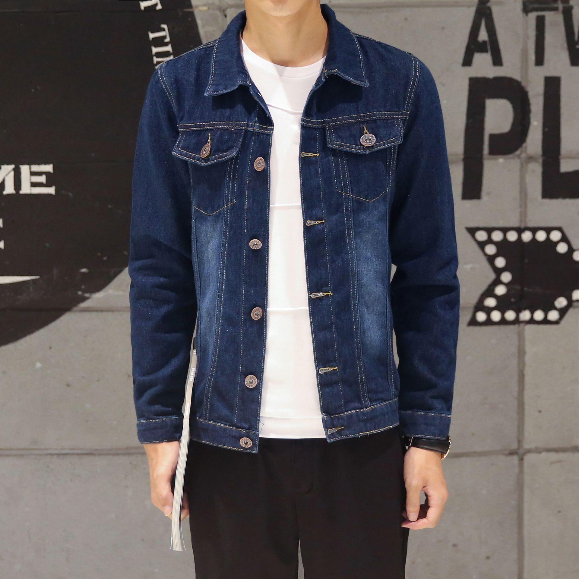 2018新款?#21487;?#28145;色牛仔外套男韩版休闲时尚修身青少年长袖夹克上衣