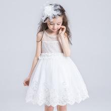 儿童婚纱礼服公主裙女童装演出服花童白色蓬蓬连衣裙春
