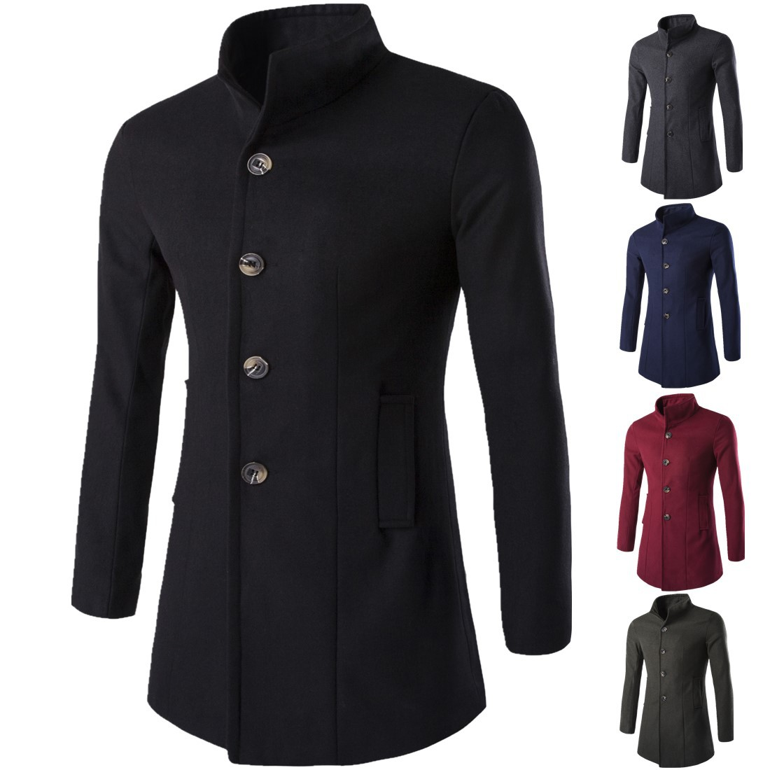 S/&S Mens Autumn Winter Casual Stand Collar Button Front Business Wool Blend Pea Coat