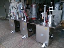 气雾剂铝罐包装设备 三头半自动灌液封口充气机 封口机 灌装机