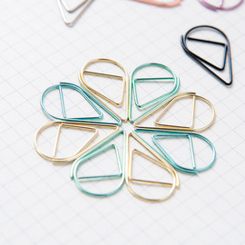 Small water drop simple metal bookmark paper clip paper clip hand selection 6 color optional