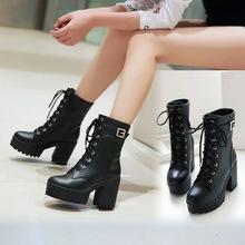秋冬女鞋粗跟短靴中筒高跟馬丁靴女英倫風厚底系帶女靴子大碼外貿
