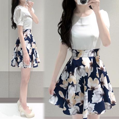 春夏女装新款韩版大码收腰大花圆领短袖印花雪纺连衣裙