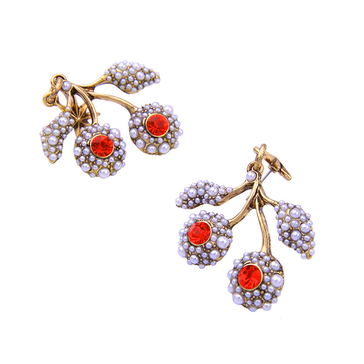 Fashion jewelry cute wild branches inlaid pearl women's earrings NHQD175444
