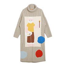 古着秋冬毛衣女 画家高领麻花长款连衣裙毛衣宽松加厚针织衫外套