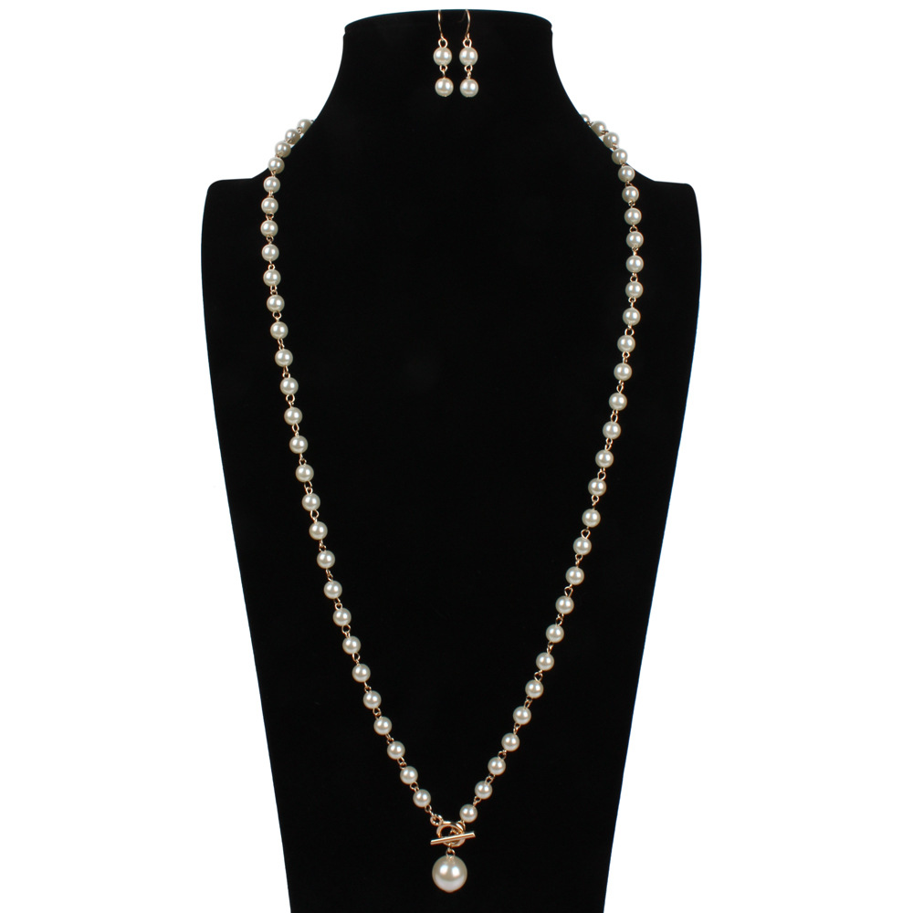 Occident and the United States pearlNecklace Set (Dark red)NHCT0061-Dark red