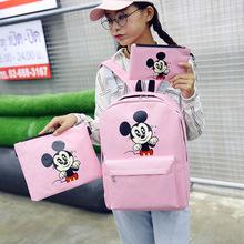 女包2016新款米老鼠女士双肩包三件套印花学生大容量书包一件代发