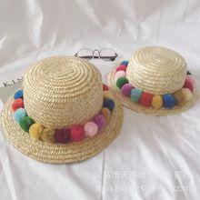 新款韓國彩球個性親子草帽麥草編織平頂出游沙灘遮陽兒童辣媽帽子