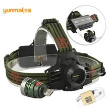 批發強光頭燈USB充電 可拆卸燈頭便攜手電 強光遠射釣魚打獵 戶外