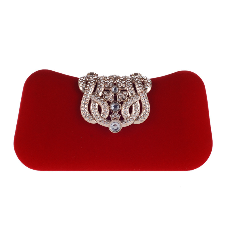 Bag female velvet evening bag crown rhinestone banquet clutch bag small square bag NHYG174732