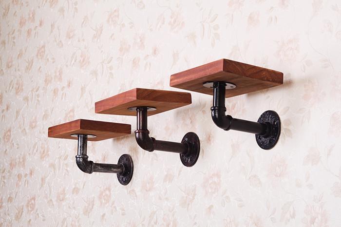 美式復古鐵藝實木層隔板 工業風壁掛置物架 水管書架墻上裝飾架