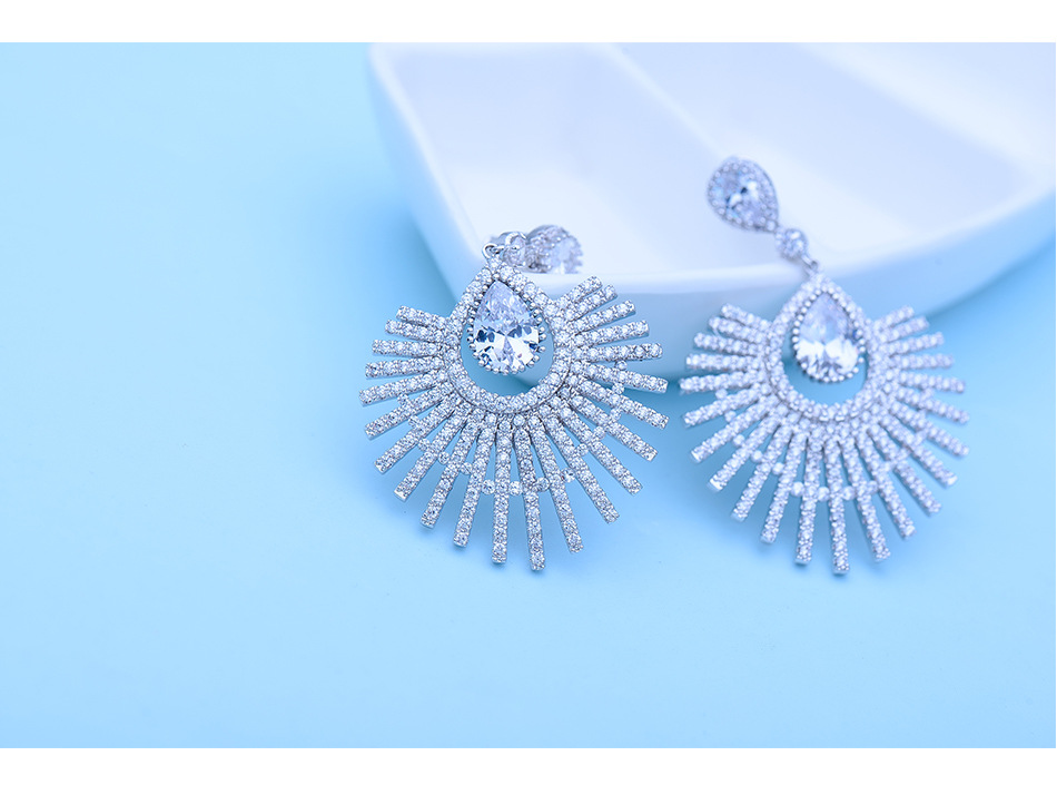 Fashion Zircon plating Earrings  (Rose alloy -10C04)  NHTM0004-Rose alloy -10C04