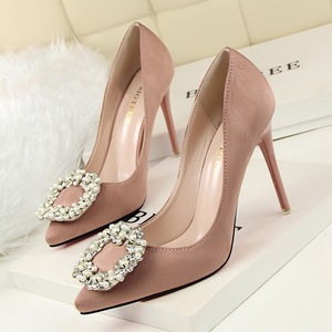 Fashion show with ultra-high with shallow thin mouth pointed suede pearl diamond buckles women's shoes