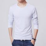 男士长袖T恤秋冬季修身长袖T恤男青年纯色打底衫上衣服空白广告衫