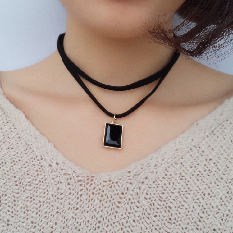 Hot selling fashion double suede square diamond black crystal collar necklace NHIM259079