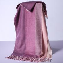 羚羊早安 围巾秋冬女保暖三层拼色羊绒文艺百搭披肩两用 gr208