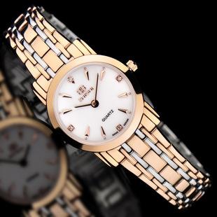 Swiss new small dial ultra-thin waterproof quartz watch simple steel band ladies watch business diamond ladies watch